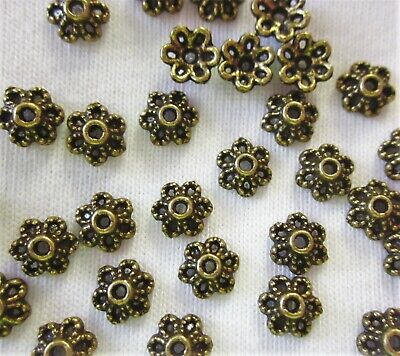 50 Antique Bronze Coloured 6mm x 3mm Flower Bead Caps #bc2545 Jewellery Findings