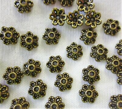 50 Antique Bronze Coloured 6mmx3mm Flower Bead Caps #bc2545 Jewellery Findings