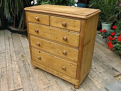 Wow! Large Old Antique Stripped  Pine Chest Of Drawers/ Sideboard. We Deliver!