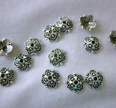 30 Antique Silver Coloured 10mm Bead Caps bc3114 Jewellery Making Findings Craft