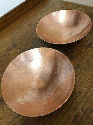 antique copper arts and crafts  pair of BOWLS