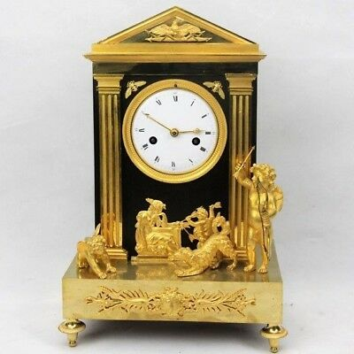 "Antique French mantel clock ormolu Empire gilt bronze mantle ""Cupid and dog"""