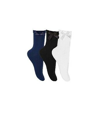Girls Childrens Bow Ankle School Socks Black And White 3 Pairs Per Pack