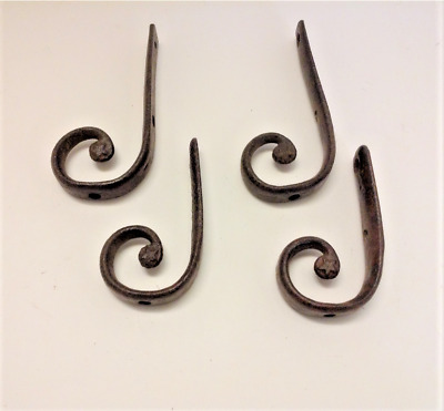 Set 4 Antique Forged Iron Hooks Curtain Tiebacks Brackets Architectural Hardware