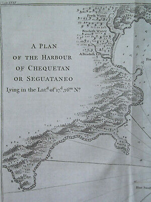 1748 orig. copperplate engraving Harbour of Chequetan Seguataneo