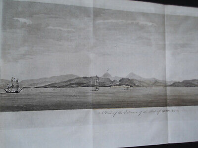 1748 orig. copperplate engraving Entrance of the port of Acapulco