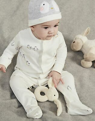Joules Baby Yule Babygrow And Hat Set in CREAM PENGUINS