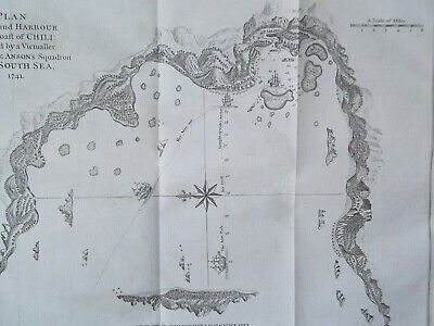 1748 orig. copperplate engraving bay harbor on the coast of Chile