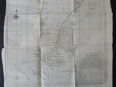 1748 orig. copper engraving map of the Southern Part South America 59 x 52 cm