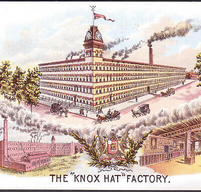 Brooklyn NY 19th Century Knox Hat Factory View Columbus OH Victorian Trade Card
