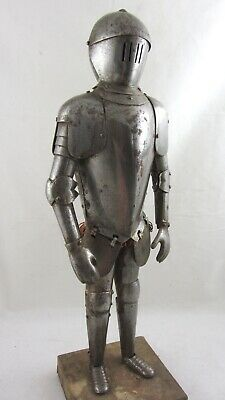 Antique 19TH CENTURY APPRENTICE STUDY OF A KNIGHT IN ARMOUR on plinth