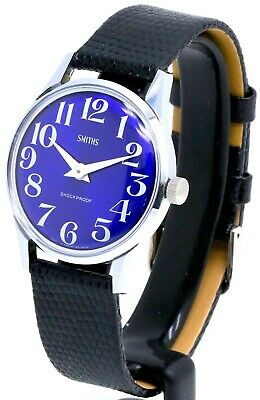 •° Rare Vintage SMITHS Gents Stunning Blue Dial Mechanical Manual Wind Watch  °•