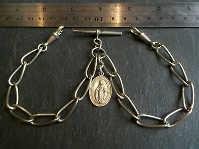 Antique Silver Tone Double Albert Pocket Watch Chain + 1830 Christian Fob Medal