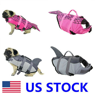 Pet Dog Life Preserver Jacket Swim Vest Safety All Size Saver Shark Mermaid USA