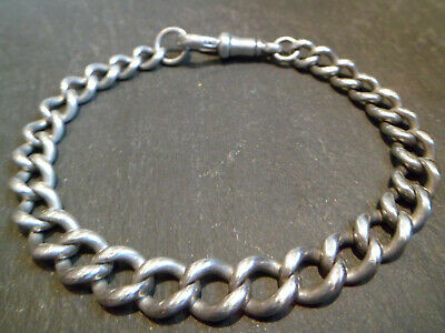 Antique Victorian Solid Silver Chunky Albert Pocket Watch Chain Bracelet
