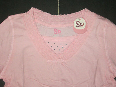 So Girls Pink Smocked V-Neck studded Long Sleeve Shirt Top Plus Size 14.5 NWT