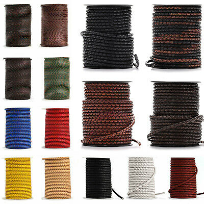 3mm 4mm 5mm Real Braided Leather Cord Round Lace Brown Black Woven Thong