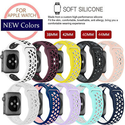 For Apple Watch iWatch 1 2 3 4 Replacement Silicone Sport Band Strap 40mm 44mm