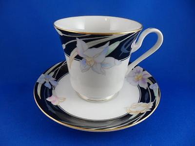 Teacup Saucer: MIKASA Japan Black Floral CHARISMA L9050 Fine China Set~Gold Trim