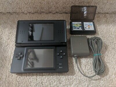 Nintendo DS Lite Console & Charger - Onyx Black + 2 Free Games & Game Case.