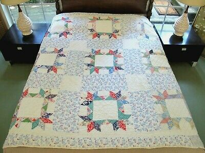 """PIGS AT THE TROUGH Feed Sack: Antique GOLGOTHA (?) Hand Sewn Quilt, 75"""" x 73"""""""