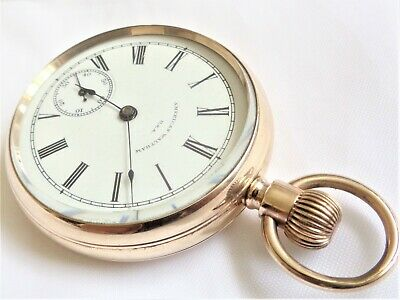 Antique American Waltham Gold Plated Top Wind Men's Pocket Watch, Working