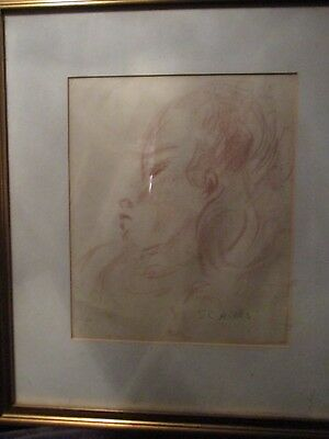St.Ives School Sheila Cavell Hicks - Very Fine Large Red Chalk Child/Girl COA