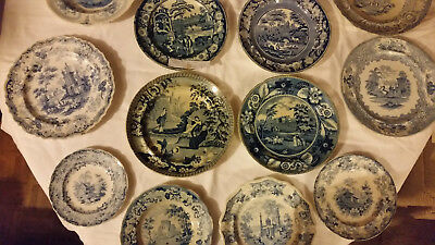 Antiquarian Plate Collection - Blue 19th Centrury Rare & Collectable Job Lot