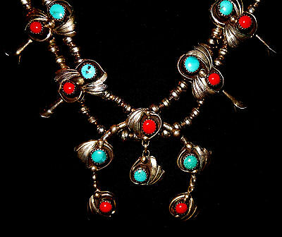 Old Pawn Sterling Turquoise Coral Navajo Squash Blossom Necklace Nice  1970S