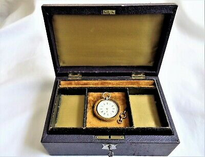Antique key Wind Solid Silver (0.800) Ladies Pocket Watch with it's Box,working