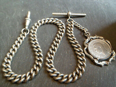 HEAVY 41.6g Antique Chunky Silver Tone Albert Pocket Watch Chain + Coin Fob