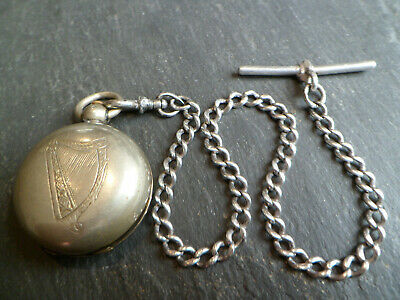 Antique Solid Silver Albert Pocket Watch Chain + Silver Tone Sovereign Coin Case