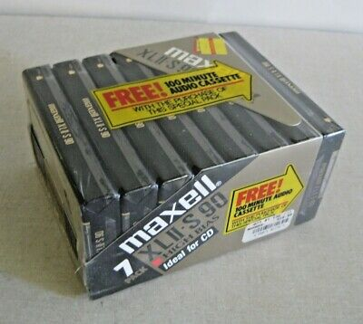Set of 7 New Sealed Maxell XLII-S 90  Cassettes Tapes Type II bonus 100 min tape