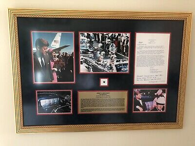 JFK JOHN F. KENNEDY- DNA Bloodstained Leather Dallas Limo+ Autographed Photo-PSA