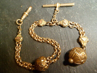Victorian 9ct Rolled Gold Albert / Albertina Pocket Watch Chain and Orb Fob