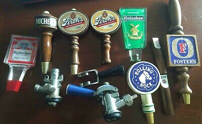Used beer tap handle lot (9 handles and 2 taps)