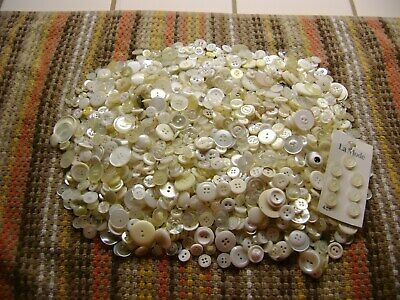 One pound 10 ounces vintage and antique white buttons mixed lot