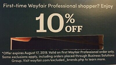 WAYFAIR Professional 10% OFF Coupon PROMO - Expires 7/20/2019 - First Order Only