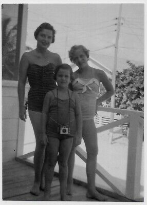 Old Photo Woman And Girls Wearing Swimsuits Girl With Brownie Camera 1950S
