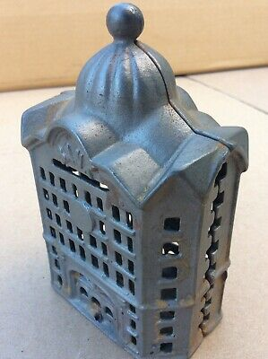 Vintage Cast Iron Domed Bank Antique Building Still Bank Penny Bank Coin Bank