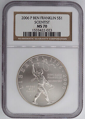 2006-P Ben Franklin Scientist Uncirculated Silver Dollar Ngc Ms70