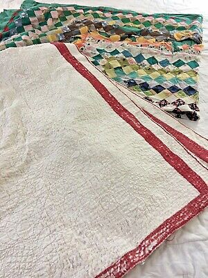 2 Vtg Cutter Quilt Handmade Trip Around The World & Hand Quilted White Quilt