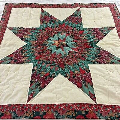"Fabulous Vintage Hand Crafted Lone Star Quilt 41"" X 41"""