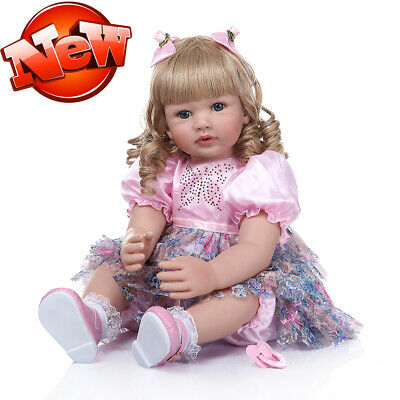 "24"" Reborn Baby Dolls Handmade Toddler Girl Lifelike Child Dolls Curly Golden"