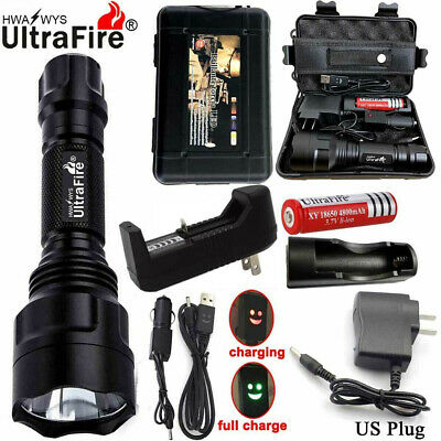 New Tactical Military 150000LM T6 LED Flashlight 18650 Torch Work Light Headlamp