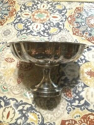 Vintage W.M. Rogers Silver Plated Oneida Round Scalloped Rim Pedestal Candy Dish