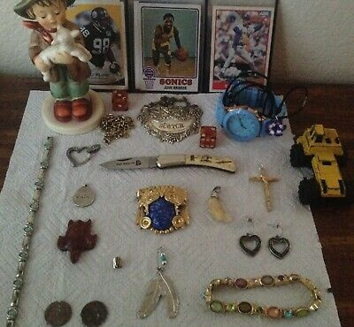 Vintage Junk Drawer Used Vintage Knife, Elk Tooth Pendant, Hummel Figurine,