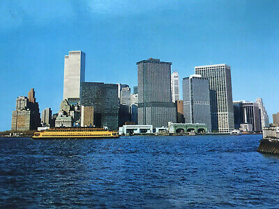 New York City Twin Towers Financial District Skyscrapers WTC Vintage Postcard