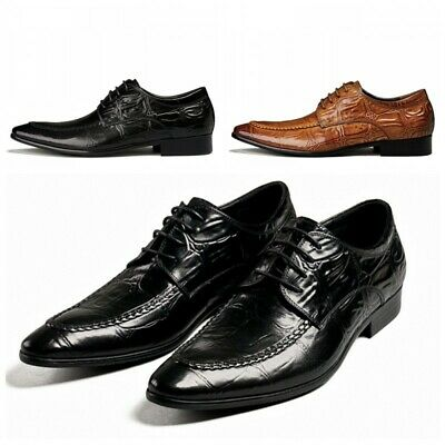 Mens Business Formal Genuine Leather Alligator Pattern Lace Up Wedding Shoes New