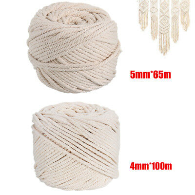 4-5mm Macrame Rope Natural Beige Cotton Twisted Cord Artisan Hand Craft 100M ZT